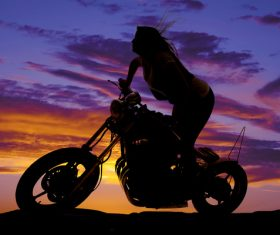 Cool love riding motorcycle woman Stock Photo 07
