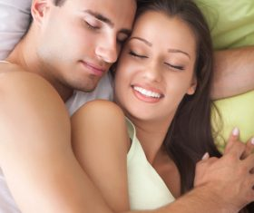 Couple sleep in each others arms Stock Photo 04