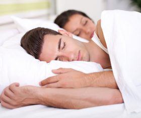 Couple sleep in each others arms Stock Photo 05