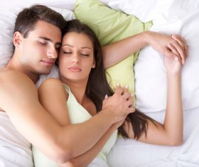 Couple sleep in each others arms Stock Photo 06