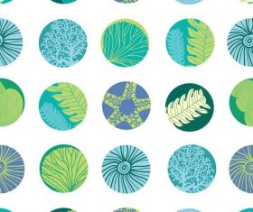 Cricles with sea elements seamless pattern vectors