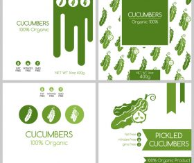 Cucumbers package box template vector