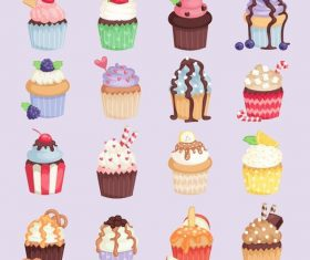 Cup cake vector illustration set