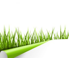 Curled paper with grass vector