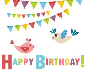 Cute birds with birthday vector