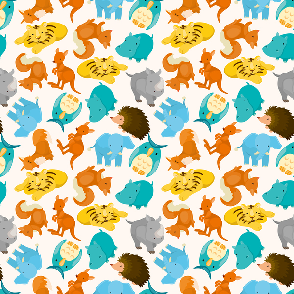 Cute cartoon animal seamless pattern vector 01