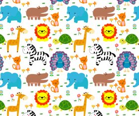 Cute cartoon animal seamless pattern vector 02