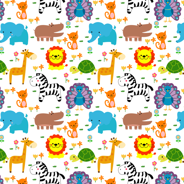 Cute cartoon animal seamless pattern vector 02