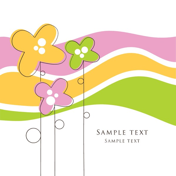 Cute floral card hand drawing design vector 02