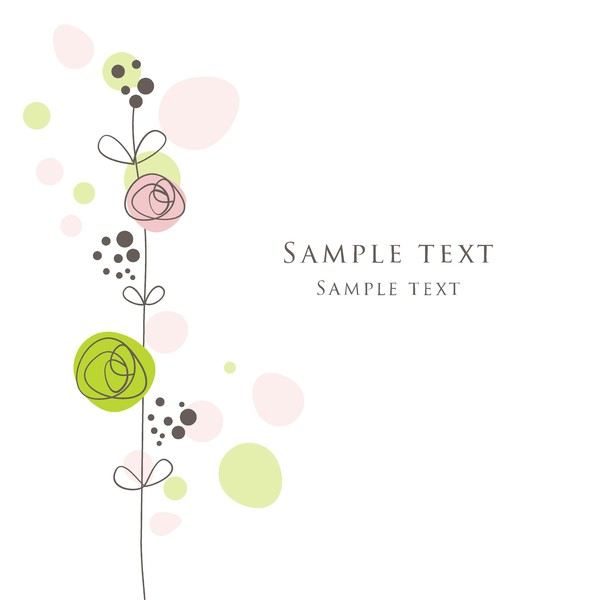 Cute floral card hand drawing design vector 04