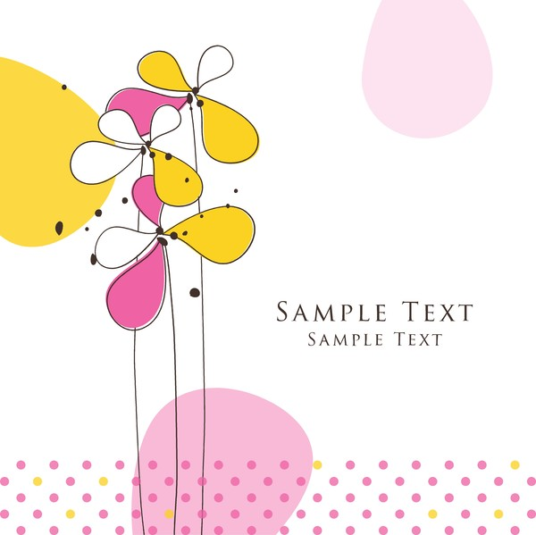 Cute floral card hand drawing design vector 06