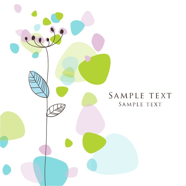 Cute floral card hand drawing design vector 07