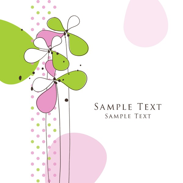 Cute floral card hand drawing design vector 08
