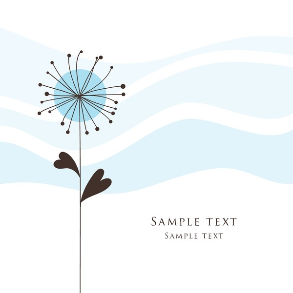 Cute floral card hand drawing design vector 10
