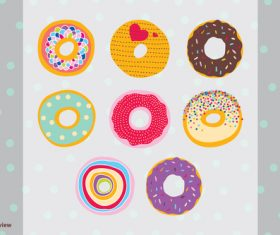 Cute hand drawn donuts vector