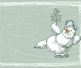 Cute snowman hand drawn vector material 04