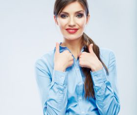 Cute woman with thumbs up Stock Photo