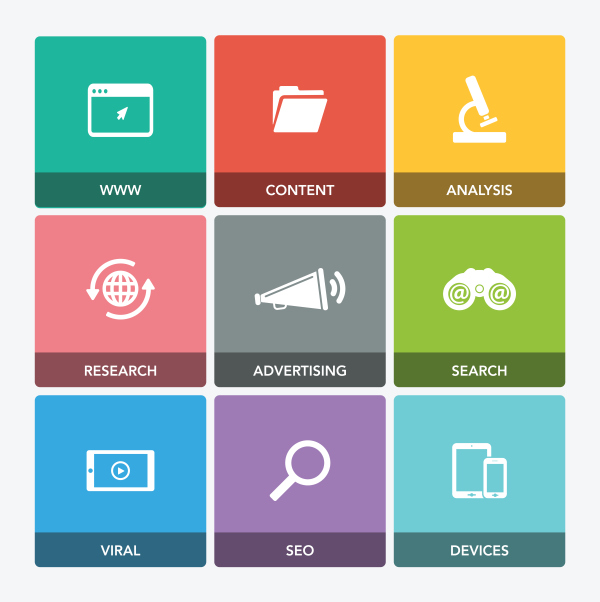 Digital marketing icon set free download