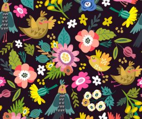 Dark bright spring floral pattern vector