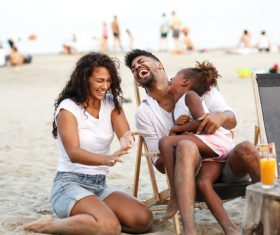 Daughter and parents laugh loudly Stock Photo 01