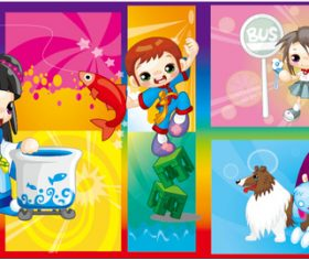Different shapes cute cartoon little girl vector