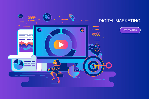 Digital marketing flat design concept vector