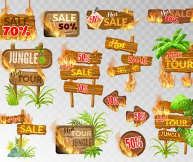 Discount wooden sign with fire flame vector 01