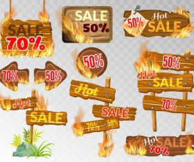 Discount wooden sign with fire flame vector 02