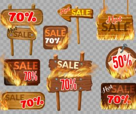 Discount wooden sign with fire flame vector 03