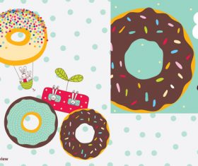Donuts with cute rabbits vector