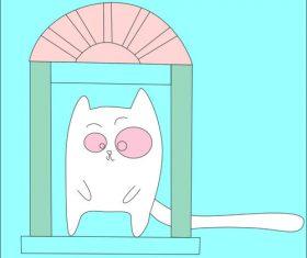 Door and cat vector