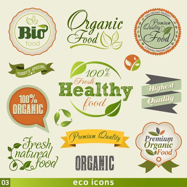 Eco food badge with labels vector