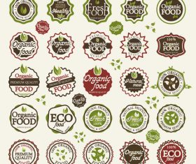 Eco with organic food badge with labels vector