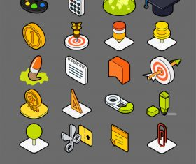 Education – isometric outline color icons