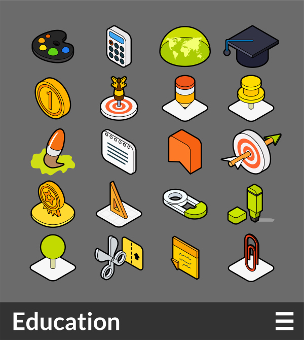 Education   isometric outline color icons