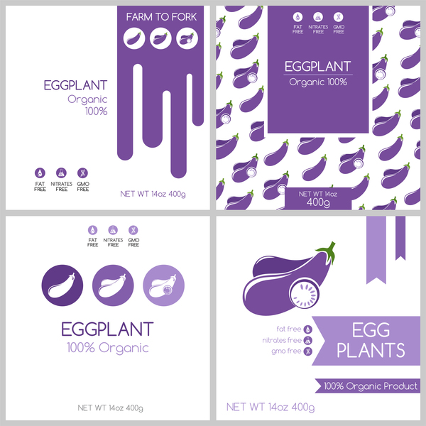 e01e8b301d Eggplant package box template vector free download