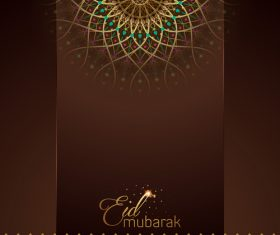 Eid Mubarak greeting card with mandala geometric pattern vector