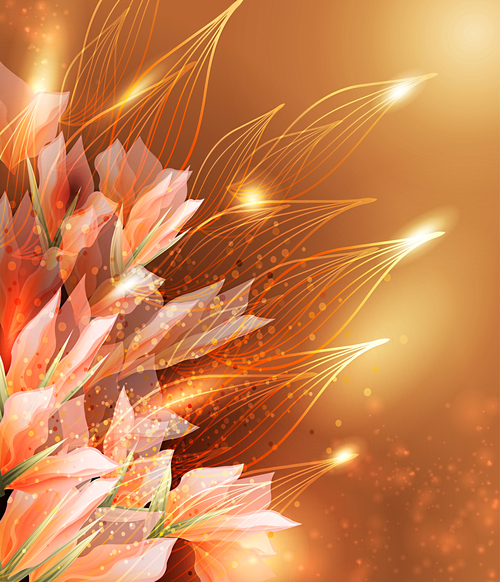 Elegant dark color flower background vector 01