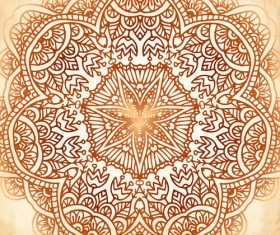 Ethnic circle decor background vector 02