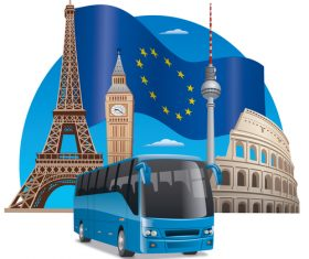 European bus travel vector