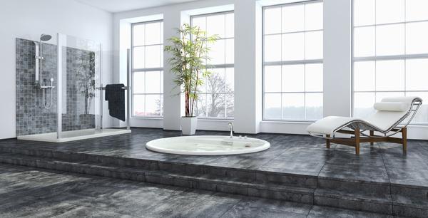 Exclusive Luxury Bathroom Interior Stock Photo 01