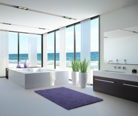 Exclusive Luxury Bathroom Interior Stock Photo 02