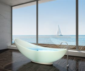 Exclusive Luxury Bathroom Interior Stock Photo 04