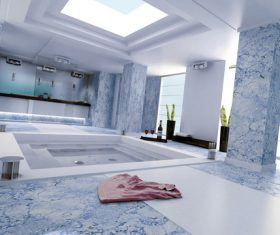 Exclusive Luxury Bathroom Interior Stock Photo 06