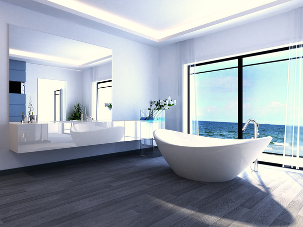 Exclusive Luxury Bathroom Interior Stock Photo 10