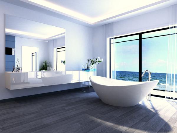 Exclusive Luxury Bathroom Interior Stock Photo 10