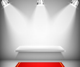 Exhibition shelf with red carpet and spotlights vector