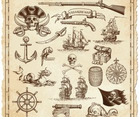 Explore tresaure map with pirate elements vector 01