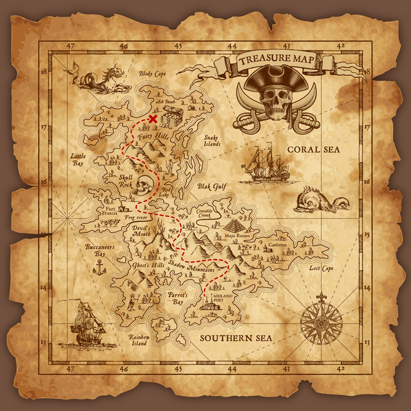 Explore tresaure map with pirate elements vector 02