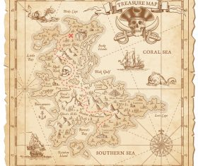 Explore tresaure map with pirate elements vector 03